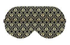 Black Gold Thai Art Sleep Eye Mask Masks Sleeping Night Blindfold Travel kit Eyes cover covers patch patches wear Slumber Eyewear Accessory by venderstore on Etsy