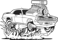 View top-quality illustrations of Muscle Camaro. Find premium, high-resolution illustrative art at Getty Images. Cartoon Car Drawing, Cartoon Kunst, Cartoon Art, Hot Rod Autos, Ed Roth Art, Cool Car Drawings, Car Wall Art, Monster Car, Cars Coloring Pages