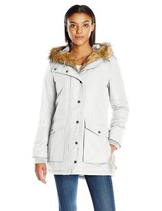 Levi's Women's Arctic Cloth Full Length Filled Parka with Faux Fur Trim, White, XS