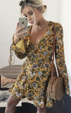 #fall #outfits women's yellow and brown floral long-sleeved mini dress and gold iPhone 7