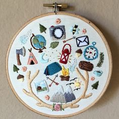 Camping & outdoors theme hand embroidery hoop by MoonriseWhims