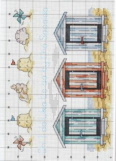 Beach huts X-stitch pattern Cross Stitch Sea, Cross Stitch Needles, Cross Stitch Charts, Cross Stitch Designs, Cross Stitch Patterns, Cross Stitching, Cross Stitch Embroidery, Embroidery Patterns, Ladder Stitch