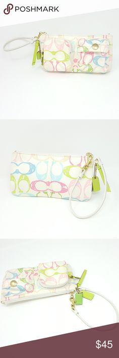 COACH Pastel Wristlet | Womens Everyday Bag COACH Pastel Wristlet  Excellent used condition. See all photos. Photos are of actual product and are not stock photos. Item is pre-owned.  Clean inside and out. Bag has 2 Coach hang tags and wrist strap. Coach Bags Clutches & Wristlets
