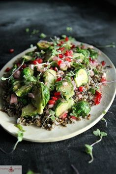 Wild Rice Salad with Brussels Sprouts and Pomegranate Vinaigrette by Heather Christo.