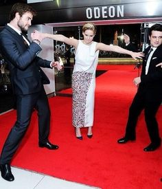 Liam Hemsworth, Jennifer Lawrence, and Josh Hutcherson. #TheHungerGames #CatchingFire