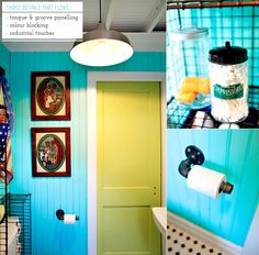 Kella created a colourful and industrial bathroom space that details turquoise tongue and groove panelling which gives a beach feel that is balanced through the introduction of subway tiles. Further industrial details are added through a factory pendant and wire storage units.