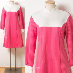 Mod Dress Mod Pink Dress Vintage Pink by TrendyHipBuysVintage