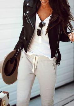 #fall #outfits Leather Jacket // White Top // Grey Pants