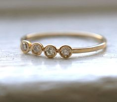LOVE THIS RING      14K Yellow white and rose Gold 4 Diamonds Ring by Tulajewelry, $275.00