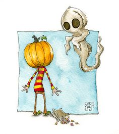 The Burlap Ghost. Watercolor print numbered and by coryBasil, $15.00