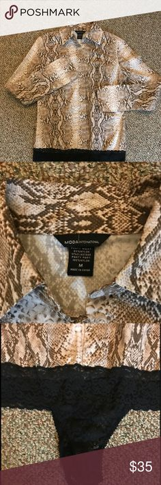 🎄Moda International Snake Skin print body suit NWOT Moda International Snake Skin print body suit with thong. This has been laundered and hung dry. The thong has a two snap closure with two levels to chose from for size. Moda International made the clothing line for Victoria's Secret.  Size M. This blouse is stunning in browns, black, and tan. Bundle for more savings and I'm open to offers! Moda International Tops Button Down Shirts