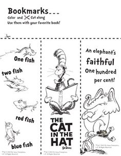 Seuss Bookmarks to Color Informations About Dr. Seuss Bookmarks to Color - Library Learners Pin Dr Seuss Week, Dr Suess, Dr Seuss Activities, Sequencing Activities, Dr Seuss Crafts, Kids Crafts, Library Lessons, Library Ideas, Library Boards