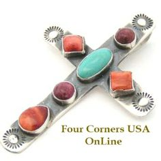 Four Corners USA Online - Multi Color Turquoise Spiny Cross Navajo Artisan Robert Johnson Native American Silver Jewelry, $195.00 (http://stores.fourcornersusaonline.com/multi-color-turquoise-spiny-cross-navajo-artisan-robert-johnson-native-american-silver-jewelry/)