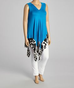 Look at this #zulilyfind! Blue Swirl Handkerchief Tunic - Women & Plus by Shoreline #zulilyfinds