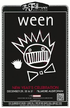 Concert poster for Ween at The Fillmore in Denver, Colorado for New Years in 2011. 11x17 card stock paper.