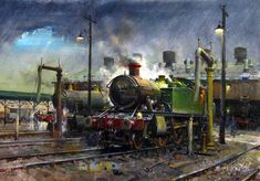 The British artist Terence Cuneo painted steam engines used as transport vehicles on iron rails. O britânico Terence Cuneo Old Steam Train, Steam Railway, Train Art, Railway Posters, British Rail, Art Uk, Steam Engine, Steam Locomotive, Train Tracks