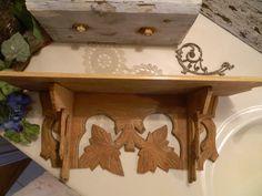 Vintage bois sculpté étagère en bois