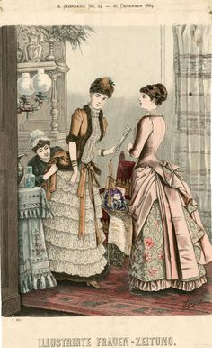 """#Fashion Plate from an 1883 issue of """"Illustrirte Frauen Zeitung,"""" which features a rather amusing scene of a dutiful lady's maid making last minute adjustments to Lady Fancy Knicker's bustle. #VictorianEra"""