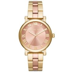 Michael Kors Rosegold Womens Norie Two-Tone Rose And Gold Three-Hand... ($225) ❤ liked on Polyvore featuring jewelry, watches, rose watches, pink gold watches, gold jewellery, pink gold jewelry and gold tone watches