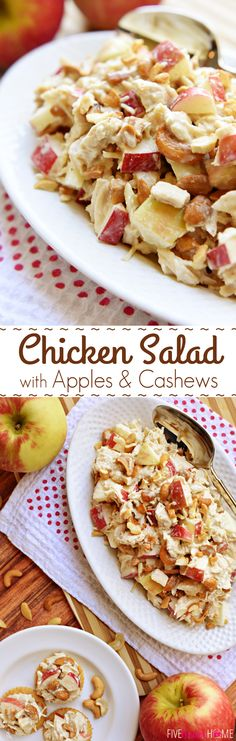 Chicken Salad with Apples and Cashews ~ a honey-kissed autumn spin on classic Sonoma Chicken Salad | https://FiveHeartHome.com #chickensalad #fall #recipe