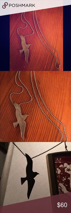 Silver bird eagle silhouette pendant Beautiful piece! Bird pendant (pendant is about 3 inches long) on simple silver chain. Vintage antiquing find. sundance Jewelry Necklaces