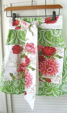 Vintage Tablecloth Apron by backhomeagainvintage, via Flickr... Love the colors