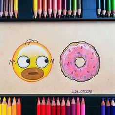 Keep calm and emoji. App Drawings, Emoji Drawings, Simpsons Drawings, Cute Disney Drawings, Kawaii Drawings, Cute Drawings, Art Sketches, Homer Simpson, Color Pencil Art