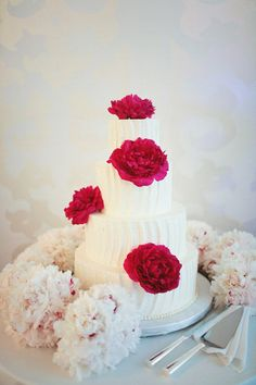 swoopy vertical lines on a cake- THis color for flowers would be gorgeous