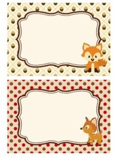Woodland Forest Animals Fox Included Classroom Bin Tag