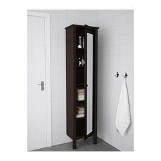 HEMNES High cabinet with mirror door, black-brown stain black-brown stain 19 1/4x12 1/4x78 3/4
