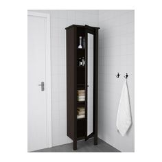 HEMNES High cabinet with mirror door, black-brown stain black-brown stain 19 1/4x12 1/4x78 3/4