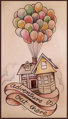 Up house drawing in coloured pencils disney tattoo quotes, disney tattoos ideas, cute disney Easy Doodles Drawings, Pencil Art Drawings, Art Drawings Sketches, Pencil Sketching, Sketch Art, Tattoo Sketches, Girl Sketch, Sketch Ideas, Cute Disney Drawings