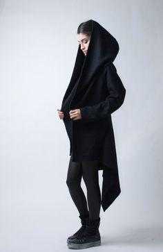 Black Coat Hoody Blazer / Asymmetrical Sweater by marcellamoda, $123.00