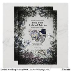 Gothic Wedding Vintage Watercolor Flowers Skulls Invitation Gothic Wedding Invitations, Halloween Wedding Invitations, Wedding Rsvp, Dream Wedding, Wedding Ideas, Halloween Weddings, Renewal Wedding, Fantasy Wedding, Wedding Goals