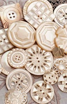 Vintage Beautifully Carved MOP Buttons