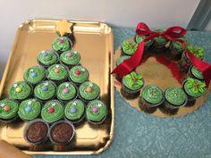 Christmas tree & Wreathe pull apart Cupcakes