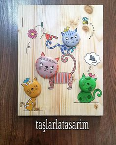 #kedi #cat #hayvansever# #taşboyama #taş #stonepainting #rockpainting #uygunfiyat #hediyelik #artgallery #artwork #workshop #gift #sanat #tasarim #dizayn #creative #evaksesuarı #instaart #instagood #like4like #doğal #pano Stone Crafts, Rock Crafts, Arts And Crafts, Stone Painting, Painting On Wood, Painted Rocks Craft, Pebble Pictures, Rock And Pebbles, Cat Crafts