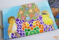 """Birds Singing Flowers "" Watercolours, tempera and acrylic on my Birds Moleskine Journal."