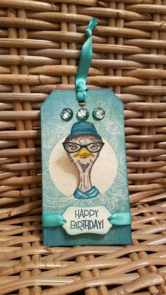 Tag using Tim Holtz Hipster stamp