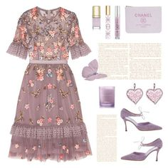 """Lavender Tulle Dress"" by deepwinter ❤ liked on Polyvore featuring Needle & Thread, Urban Decay, Tory Burch, Dolce&Gabbana, Manolo Blahnik, Betsey Johnson, dress, embellished, lavender and tulle"