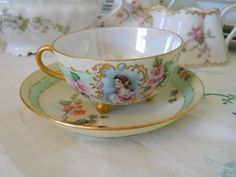Antique Vintage Hand Painted China Teacup and Saucer by cyndalees, $29.00