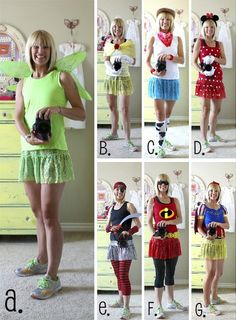 Disney costume ideas.  a. Tinkerbell,  b. Belle,  c. Jessie (toy story)  d. Minnie,  e. pirate,  f. incredibles,  g. snow white.