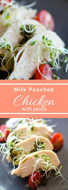 Milk Poached Chicken with Pesto is a healthy and delicious dinner that comes together quickly on the stovetop and it packed with flavor. #ad #SundaySupper #FloridaMilk #JuneDairyMonth @floridamilk
