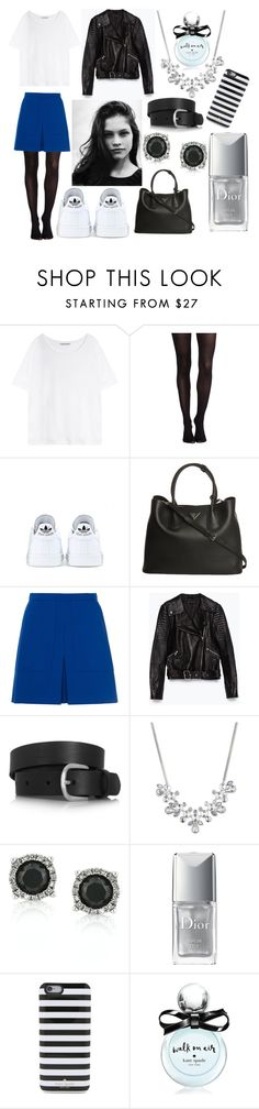 """""""Noir, blanc et bleu électrique"""" by choco-lat ❤ liked on Polyvore featuring mode, Acne Studios, SPANX, adidas, Prada, French Connection, Zara, Isabel Marant, Givenchy et Mark Broumand"""