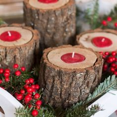 Rustic Wood Tea Light Candle Holder - Marty's Musings