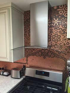 Kitchen Backsplash Centerpiece forget him knot- penny backsplash diy/ for the love of copper
