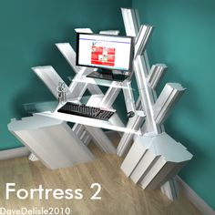 This desk is based on Superman's Fortress of Solitude. It features glass sections in the shape of the Superman diamond logo. The clincher is a glass stationary holder that resembles the cryst… Hanging Beds, Hanging Shelves, Geek Furniture, Wood Furniture, Superman Room, Superman Stuff, Superman Party, Superman Movies, Bamboo Art