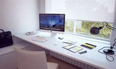 Escritórios domésticos minimalista branco