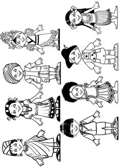 Best Coloring: Children from around the world coloring pages - Amazing Coloring sheets - Around The World Theme, Kids Around The World, Around The Worlds, Colouring Pages, Free Coloring, Coloring Sheets, Multicultural Crafts, Harmony Day, World Geography