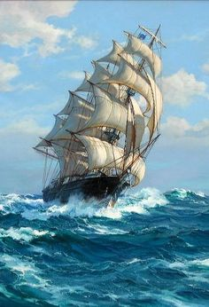 "Charles Vickery ~ ""Homeward Bound"" (Détail) ~ Oil on Canvas - Segelschiffe - Auto Ship Paintings, Seascape Paintings, Bateau Pirate, Old Sailing Ships, Pirate Art, Ship Drawing, Boat Painting, Pirate Ship Painting, Nautical Art"